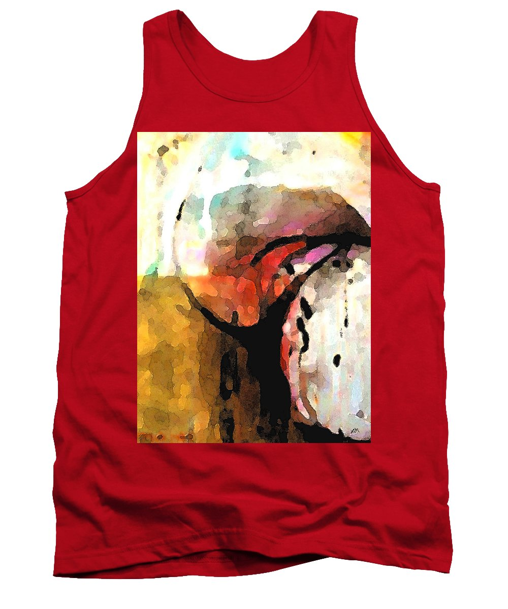 Abstract Tank Top featuring the digital art Embracing Secrets Panel One Of Two by Linda Mears