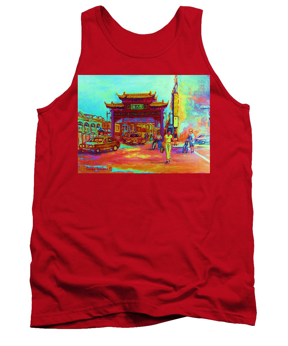 Montreal Tank Top featuring the painting Entrance To Chinatown by Carole Spandau