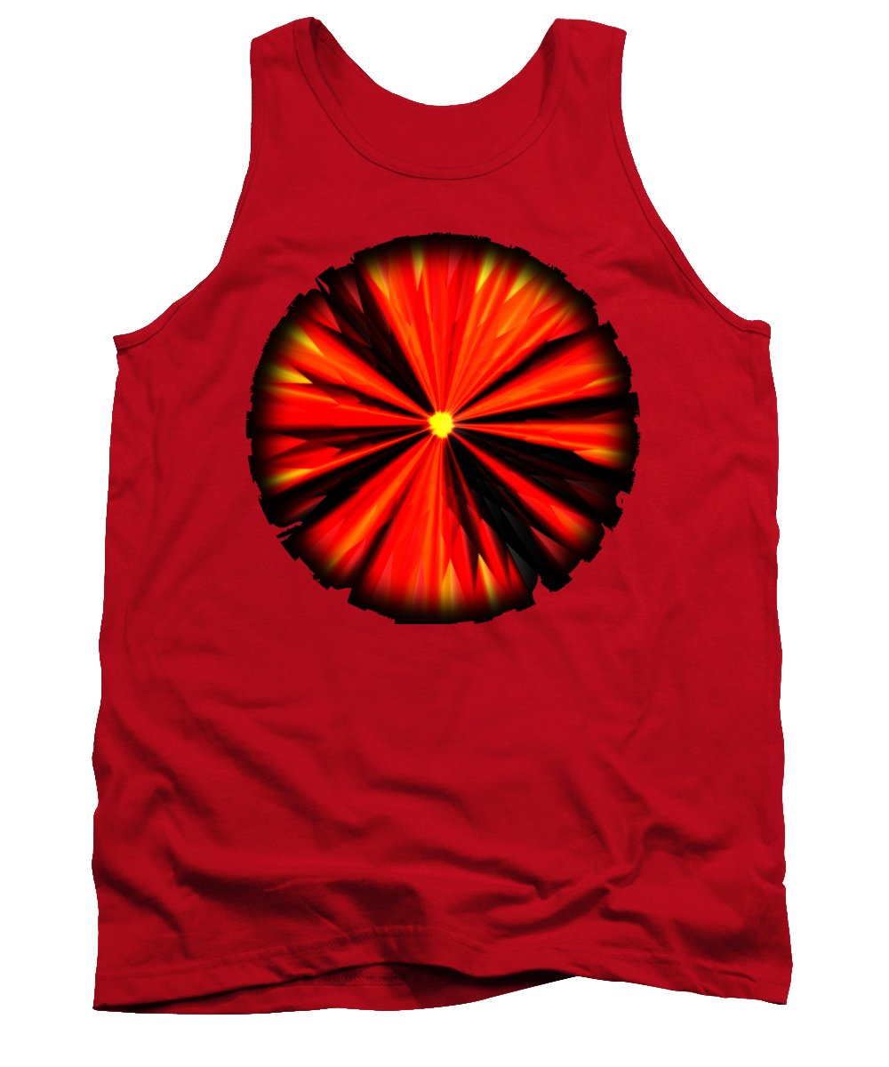 Eruption Tank Top featuring the digital art Eruption In Red by Eric Nagel