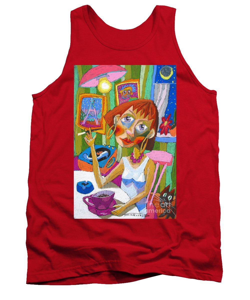 Pastel Tank Top featuring the painting Evening Dream by Yuriy Shevchuk