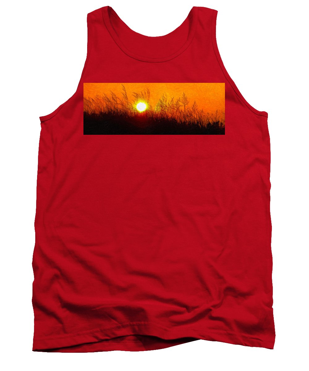Landscape Tank Top featuring the photograph Evening Dunes Impasto by Steve Harrington