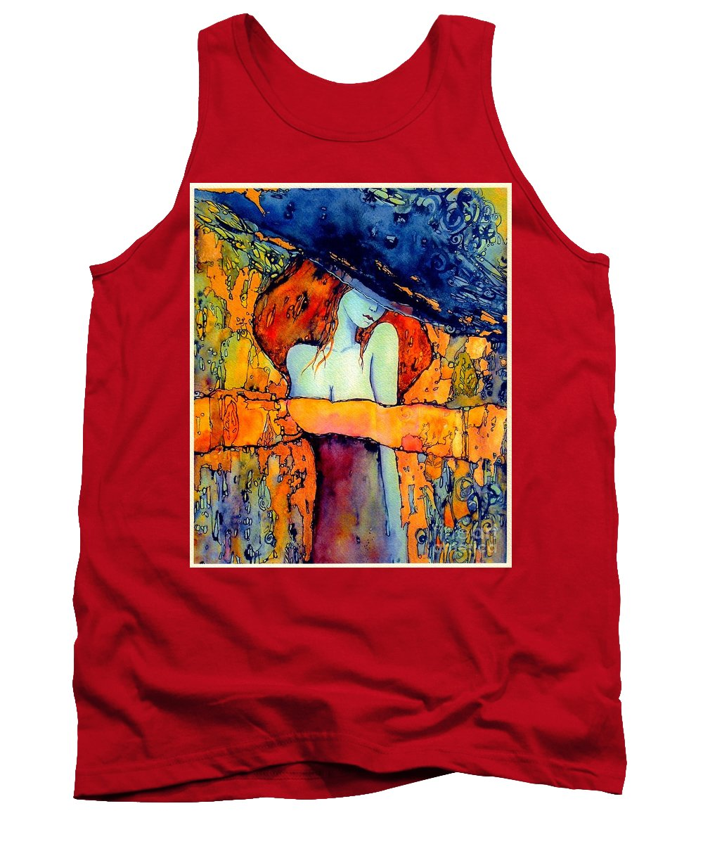 Red Tank Top featuring the painting Extravagance by Suzann Sines