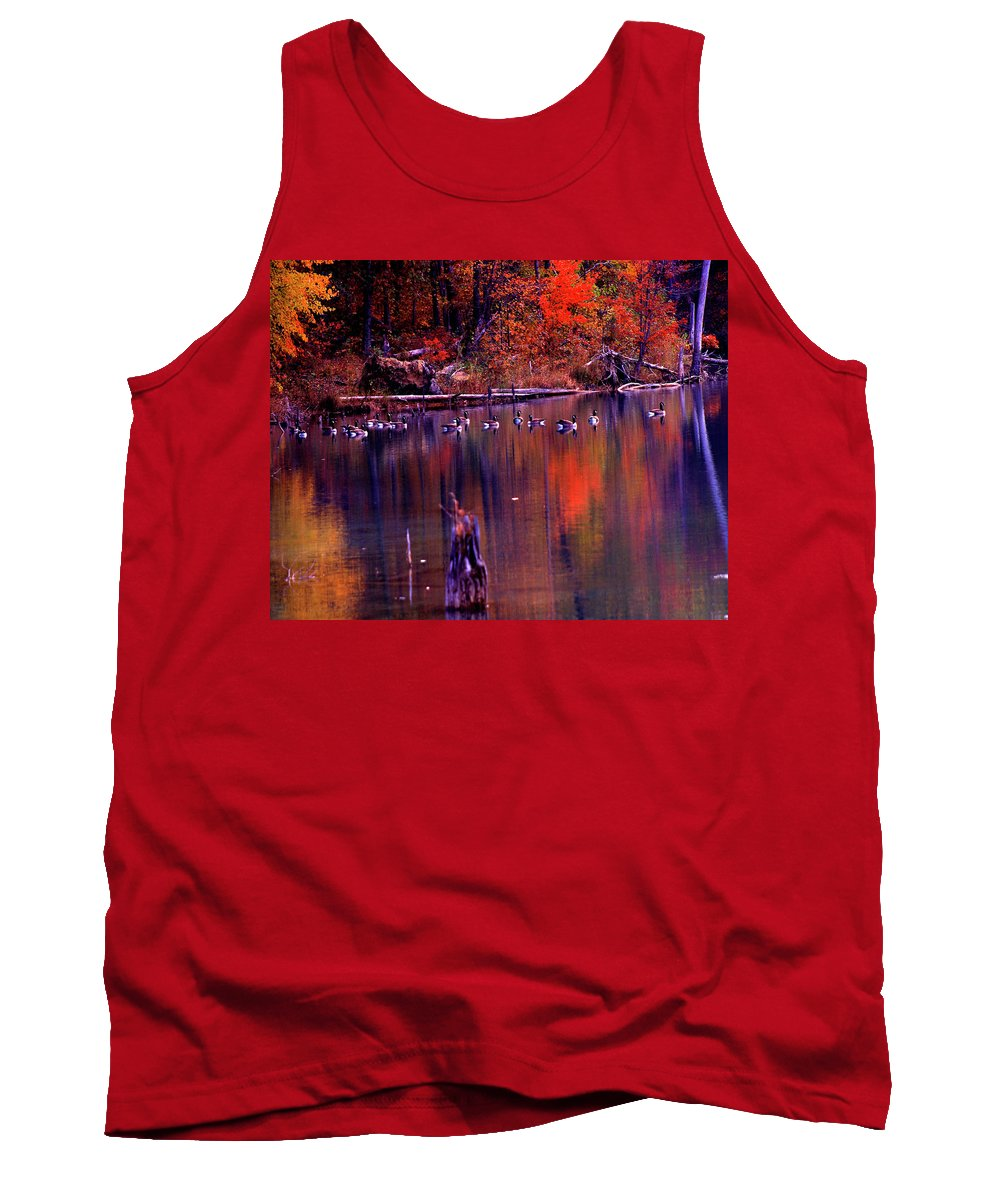 Fall Colors Tank Top featuring the photograph Fall Colors And Geese by James Harris