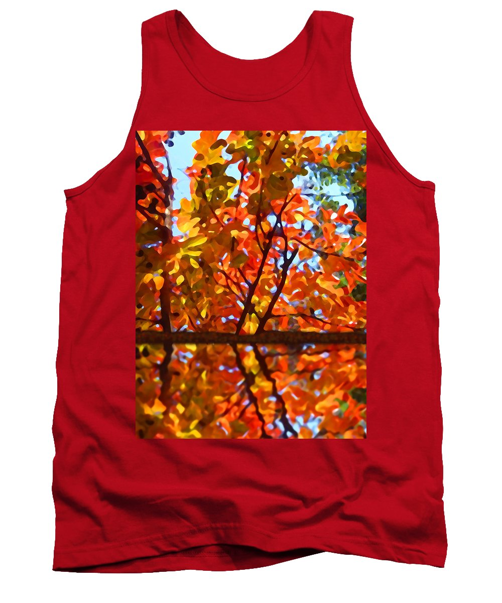 Trees Tank Top featuring the painting Fall Reflextion by Amy Vangsgard