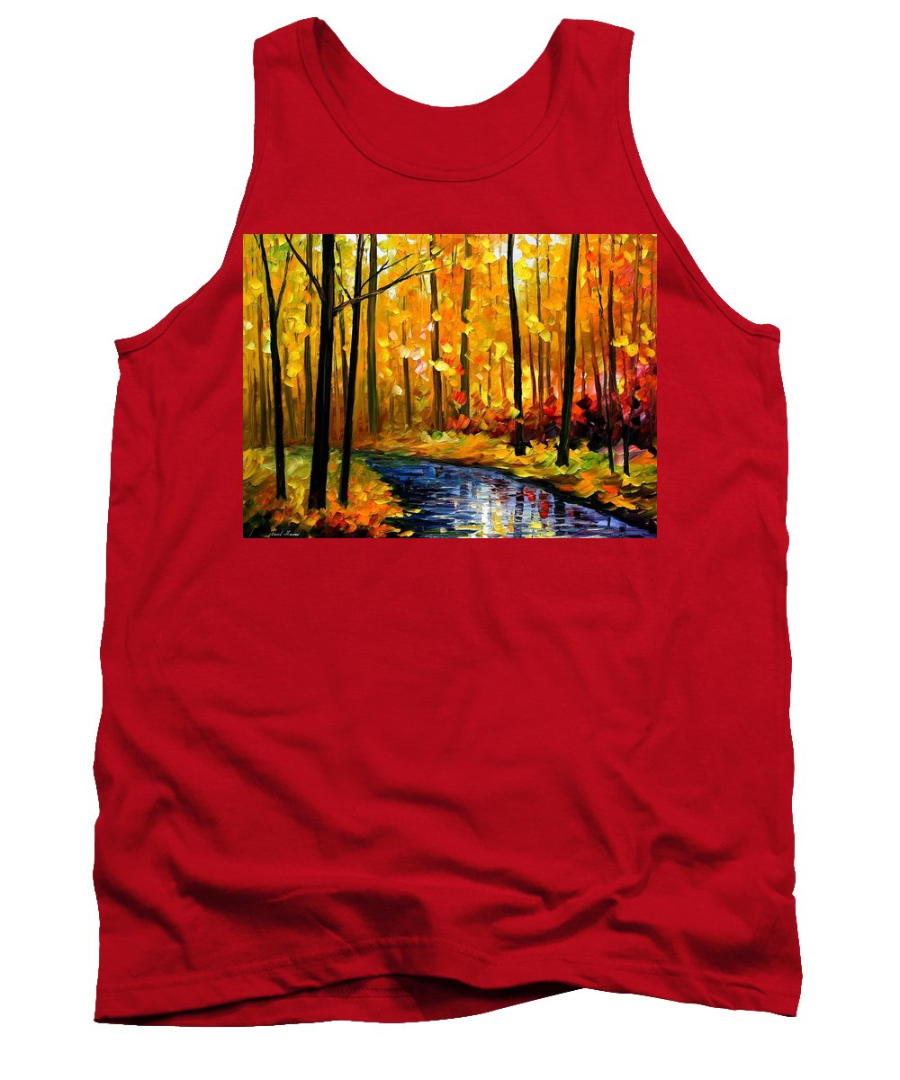 Afremov Tank Top featuring the painting Fall Stream by Leonid Afremov