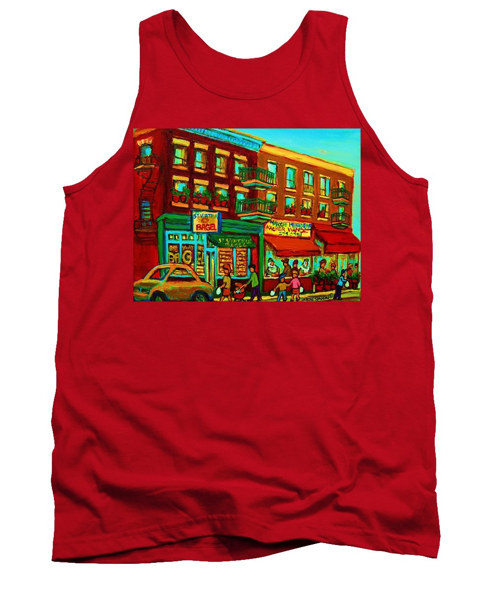 St Viateur Bagel Shop Montreal Street Scenes Tank Top featuring the painting Family Frolic On St.viateur Street by Carole Spandau