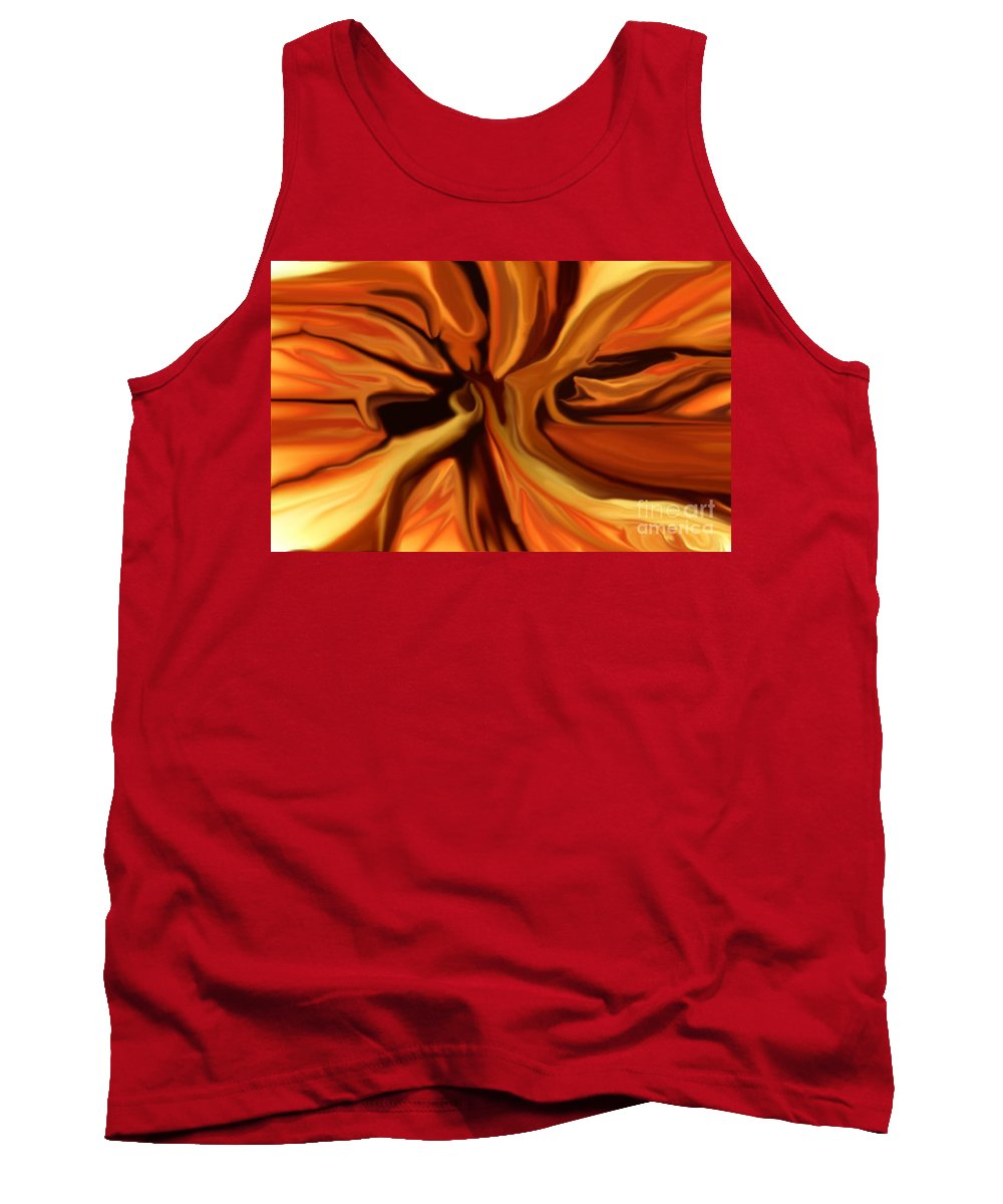 Abstract Tank Top featuring the digital art Fantasy In Orange by David Lane