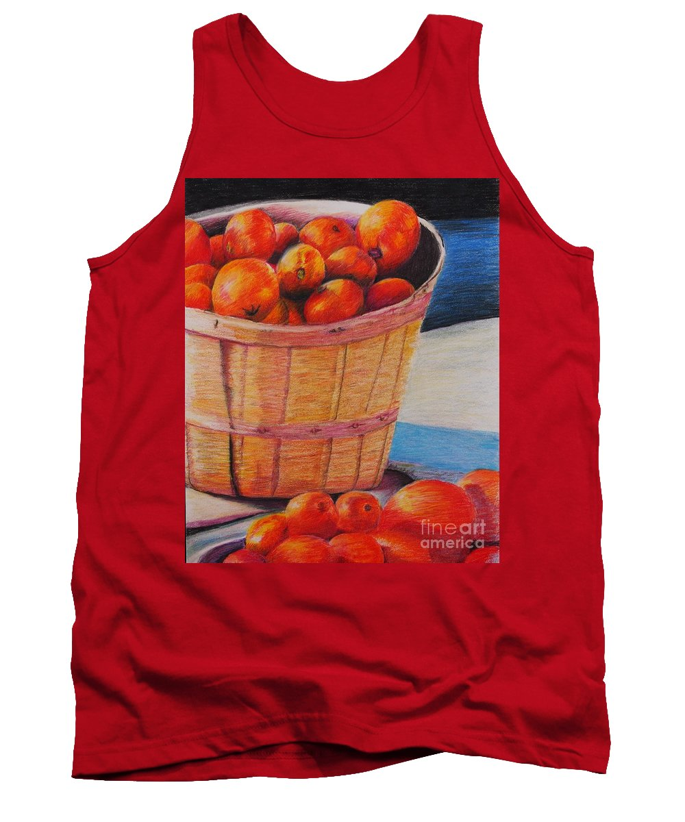 Produce In A Basket Tank Top featuring the drawing Farmers Market Produce by Nadine Rippelmeyer