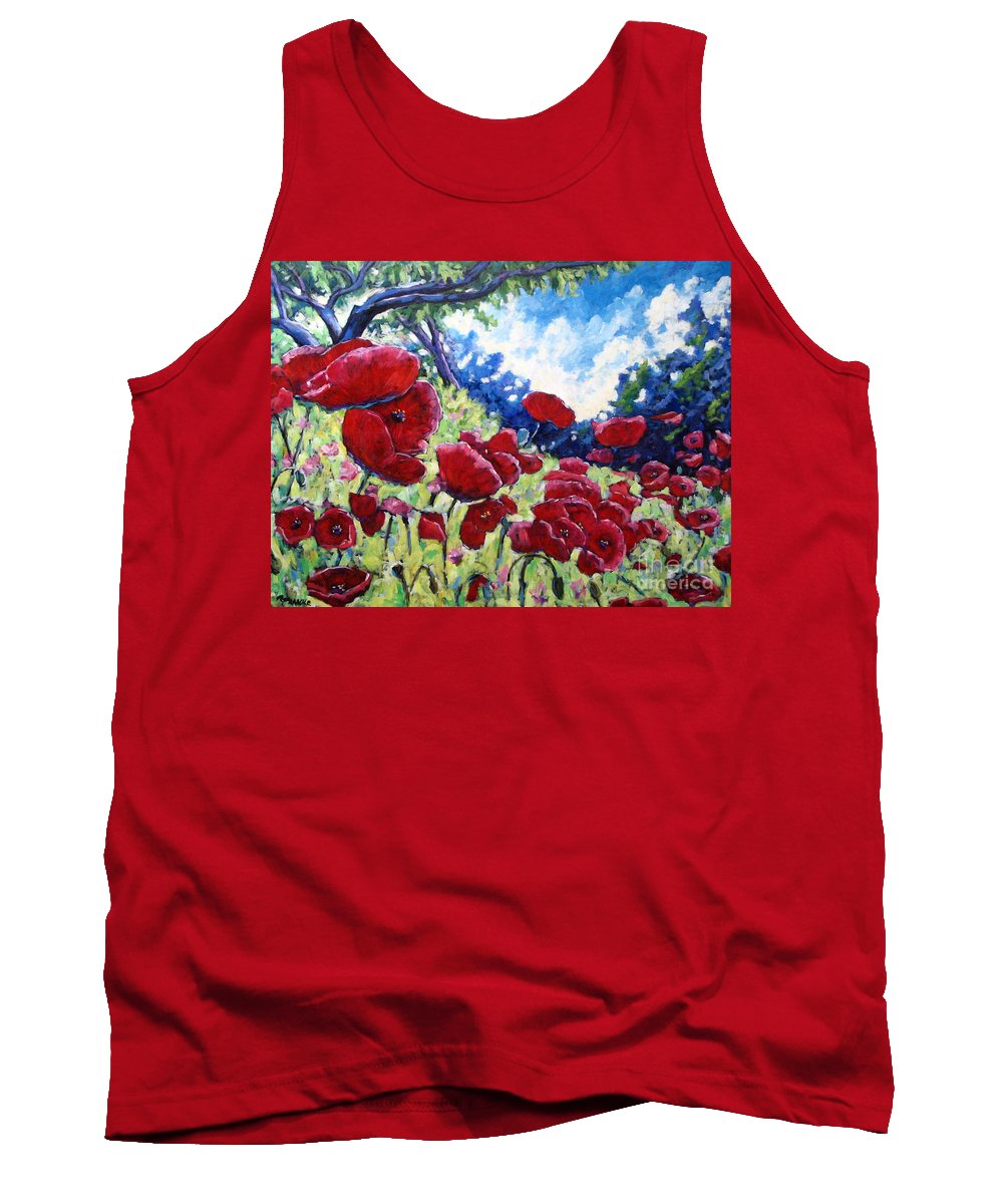 Poppies Tank Top featuring the painting Field Of Poppies 02 by Richard T Pranke
