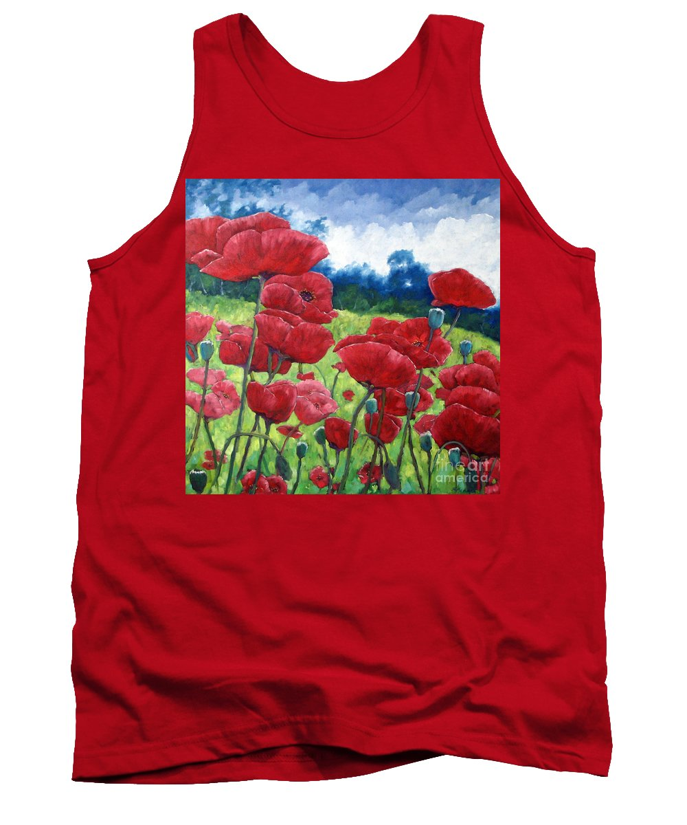 Poppies Tank Top featuring the painting Field Of Poppies by Richard T Pranke
