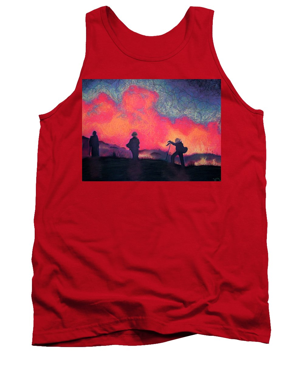 Fire Crews Tank Top featuring the drawing Fire Crew by Joshua Morton
