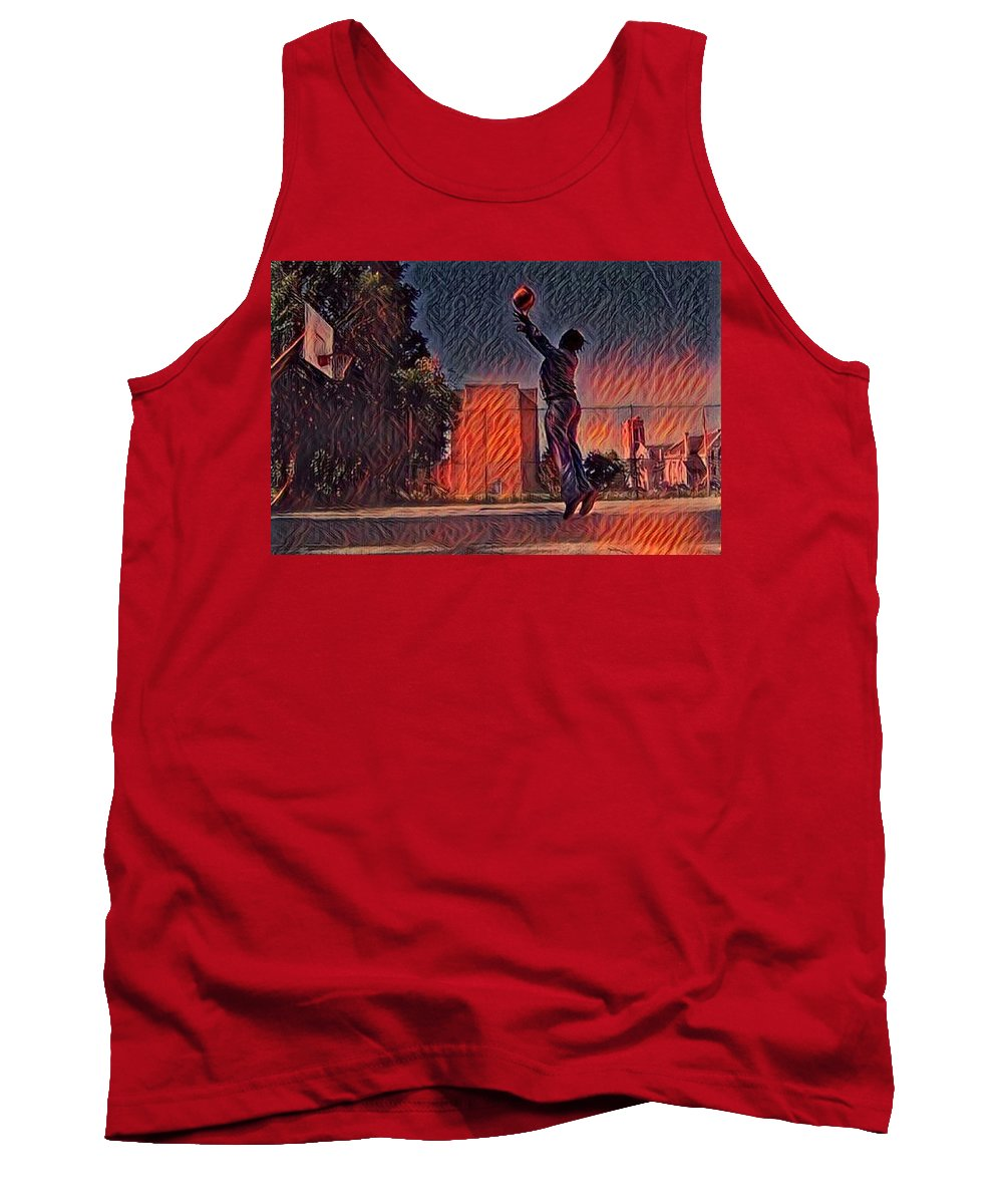 Fire Ball Basketball Shot Hops The City Urban Flame Burning Lessons Test Best Excellent Leader Role Model Athlete Sports Game Name Tank Top featuring the mixed media Fire Hopps by Dana McCarroll
