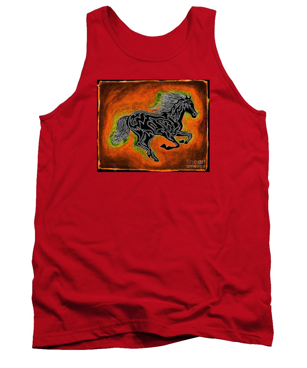 Horses Tank Top featuring the painting Fire Horse Neona 4 by Peter Paul Lividini