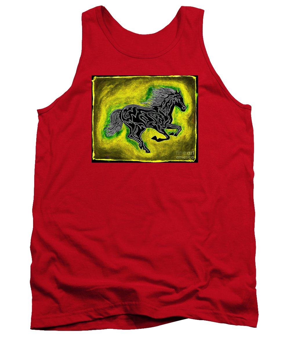 Horses Tank Top featuring the painting Fire Horse Neona 5 by Peter Paul Lividini