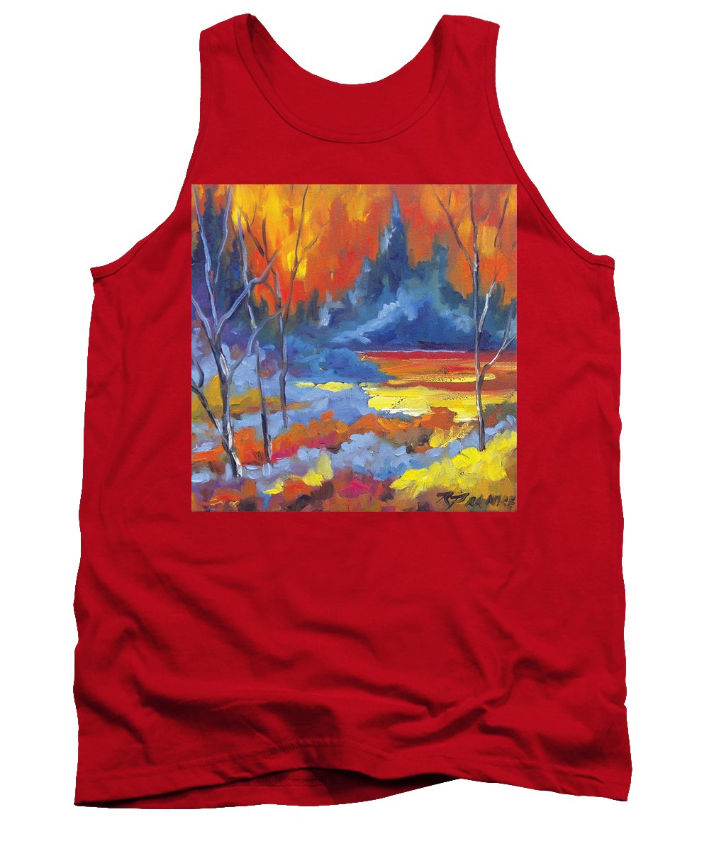 Art Tank Top featuring the painting Fire Lake by Richard T Pranke