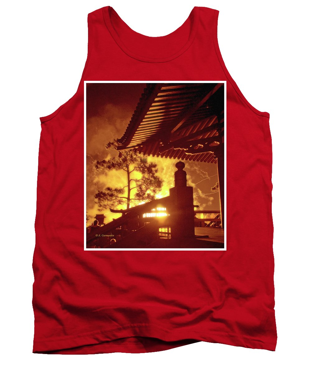Japan Pavilion Tank Top featuring the photograph Fireworks, Japan Pavilion, Epcot, Walt Disney World by A Gurmankin