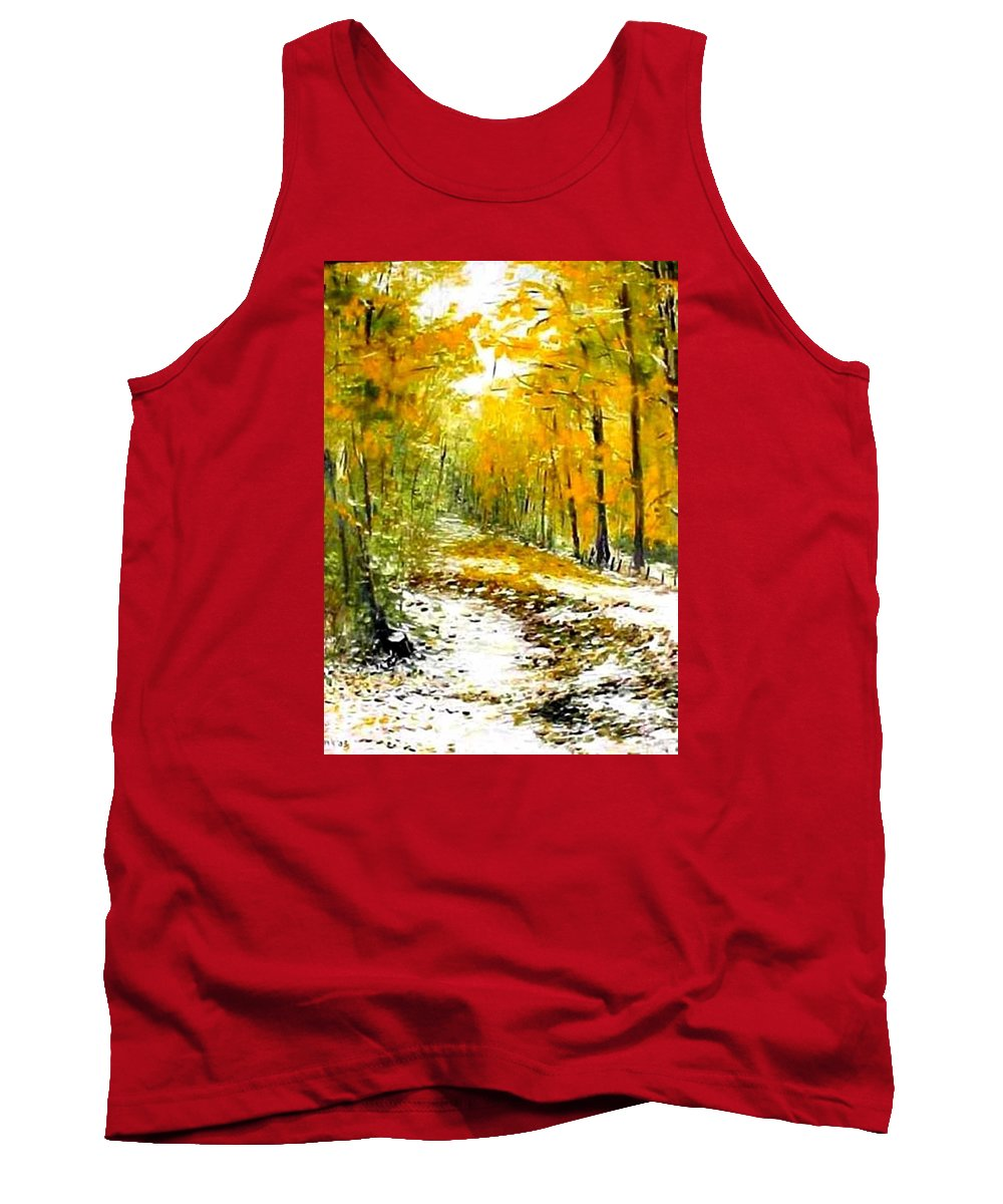 Landscape Tank Top featuring the painting First Snow by Boris Garibyan