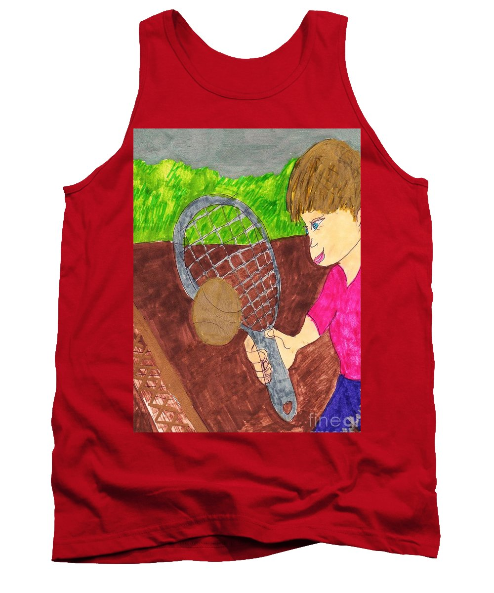 Boy Playing Tennis For The First Time Tank Top featuring the mixed media First Time For Tennis by Elinor Helen Rakowski