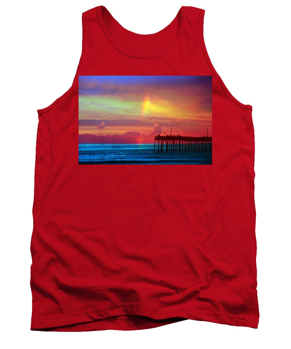 Virginia Beach Tank Top featuring the photograph Fishing Pier by Debbie Nobile