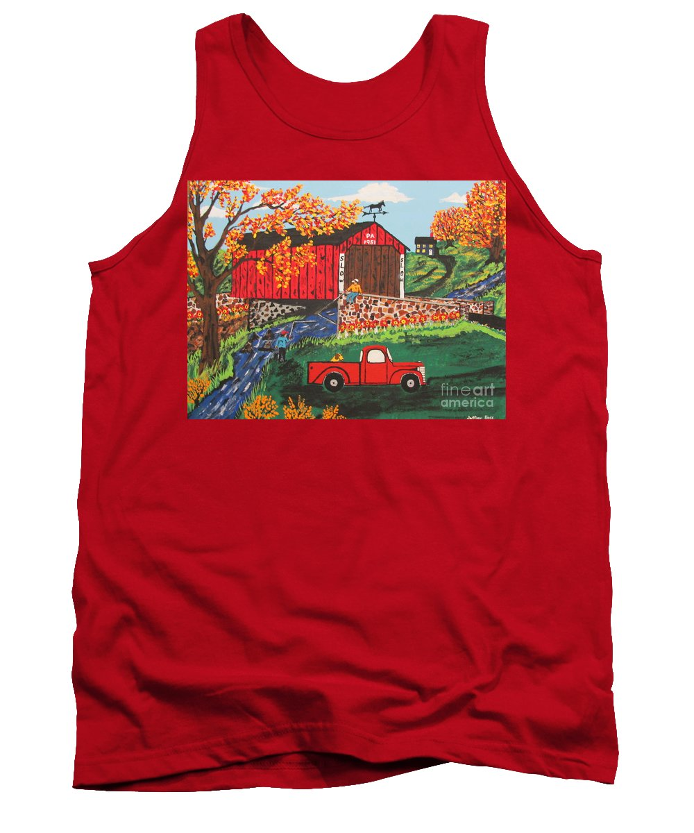 Country Art Tank Top featuring the painting Fishing Under The Covered Bridge by Jeffrey Koss