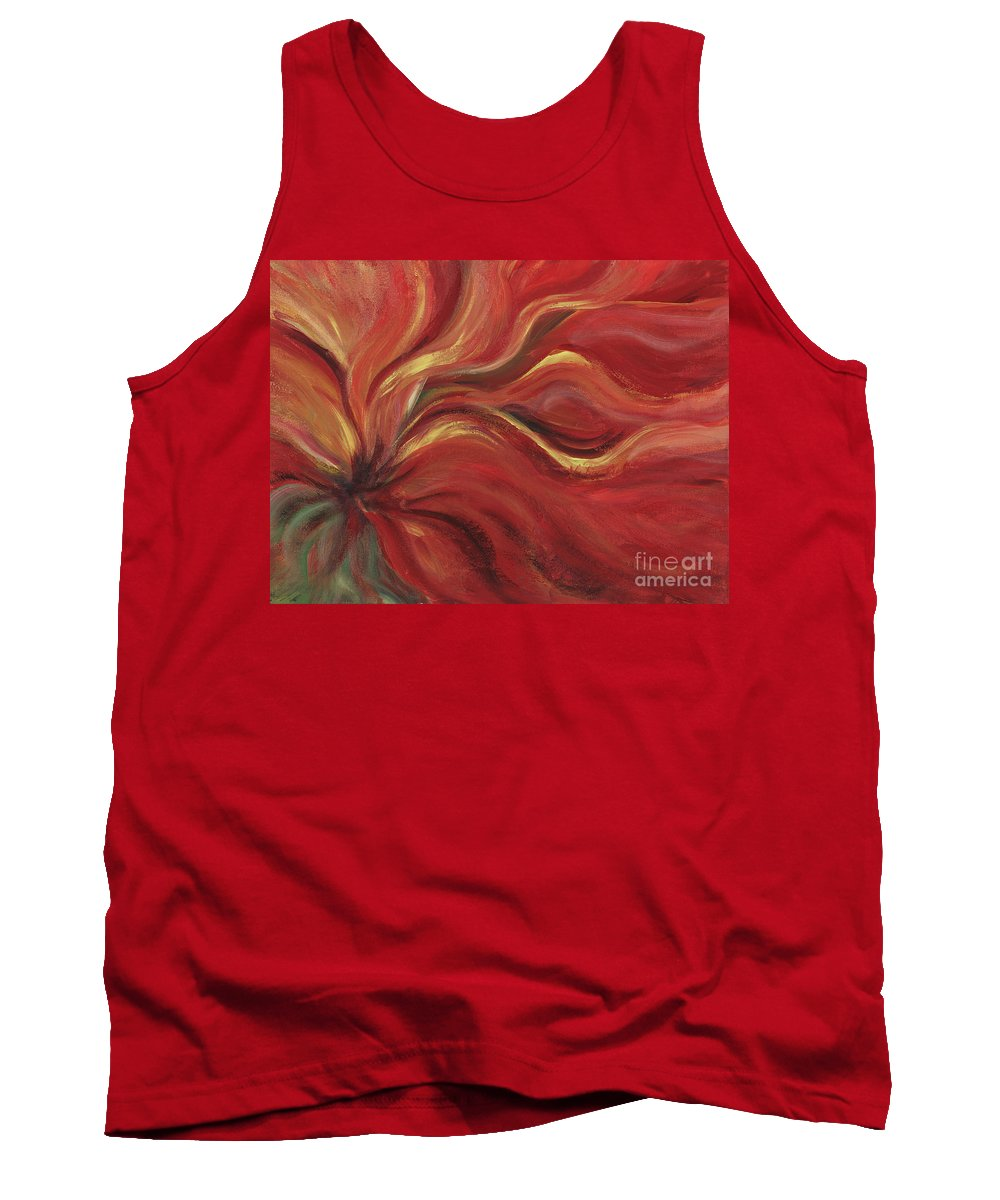 Red Tank Top featuring the painting Flaming Flower by Nadine Rippelmeyer
