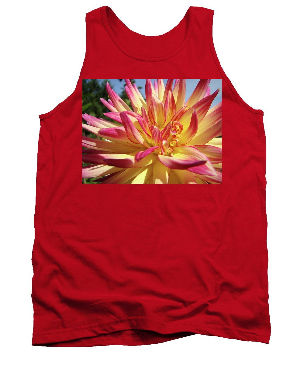 Dahlia Tank Top featuring the photograph Floral Art Prints Bright Dahlia Flower Canvas Baslee Troutman by Baslee Troutman