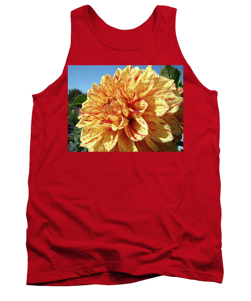 Dahlia Tank Top featuring the photograph Floral Dahlia Flower Art Print Orange Red Dahlias Baslee by Baslee Troutman