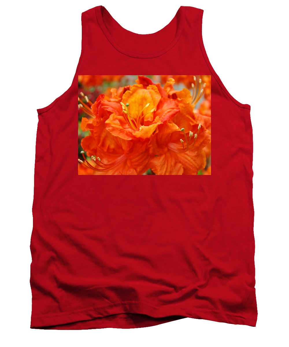 Rhodie Tank Top featuring the photograph Floral Rhodies Art Prints Orange Rhododendrons Canvas Art Baslee Troutman by Baslee Troutman