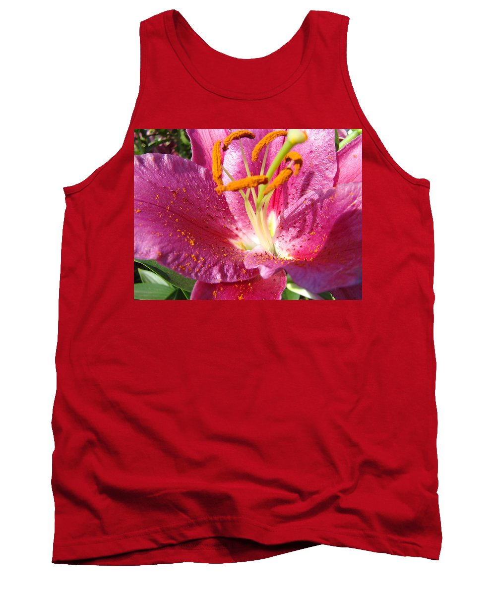 Lily Tank Top featuring the photograph Flower Art Prints Pink Orange Lily Flower Giclee Baslee Troutman by Baslee Troutman