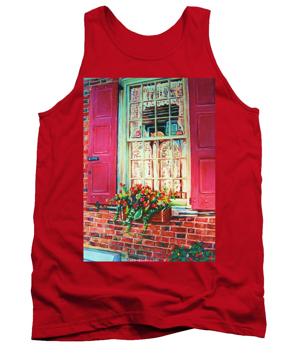 Flower Box Tank Top featuring the painting Flower Box And Pink Shutters by Carole Spandau