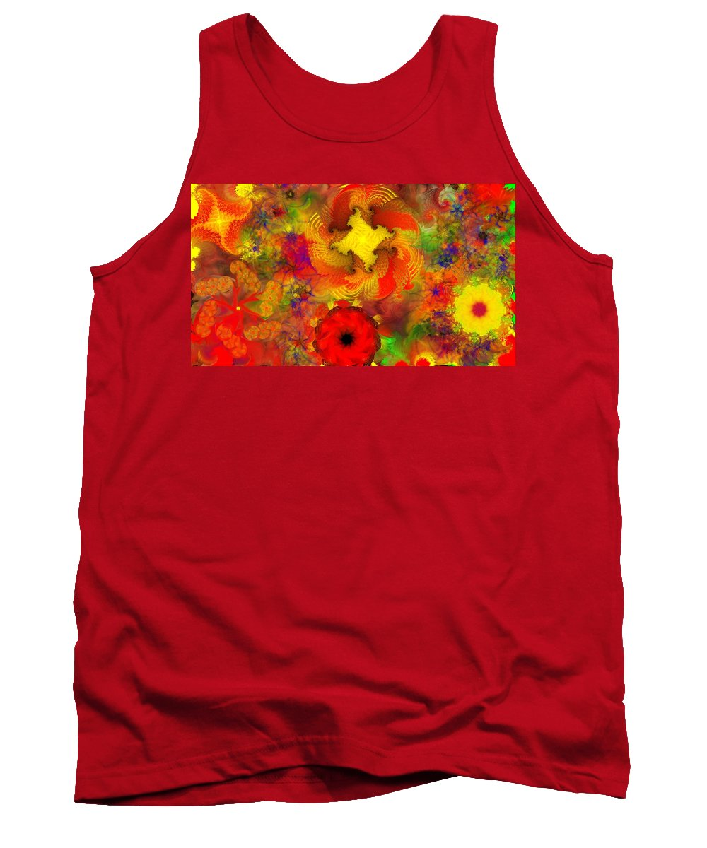 Abstract Digital Painting Tank Top featuring the digital art Flower Garden 8-27-09 by David Lane