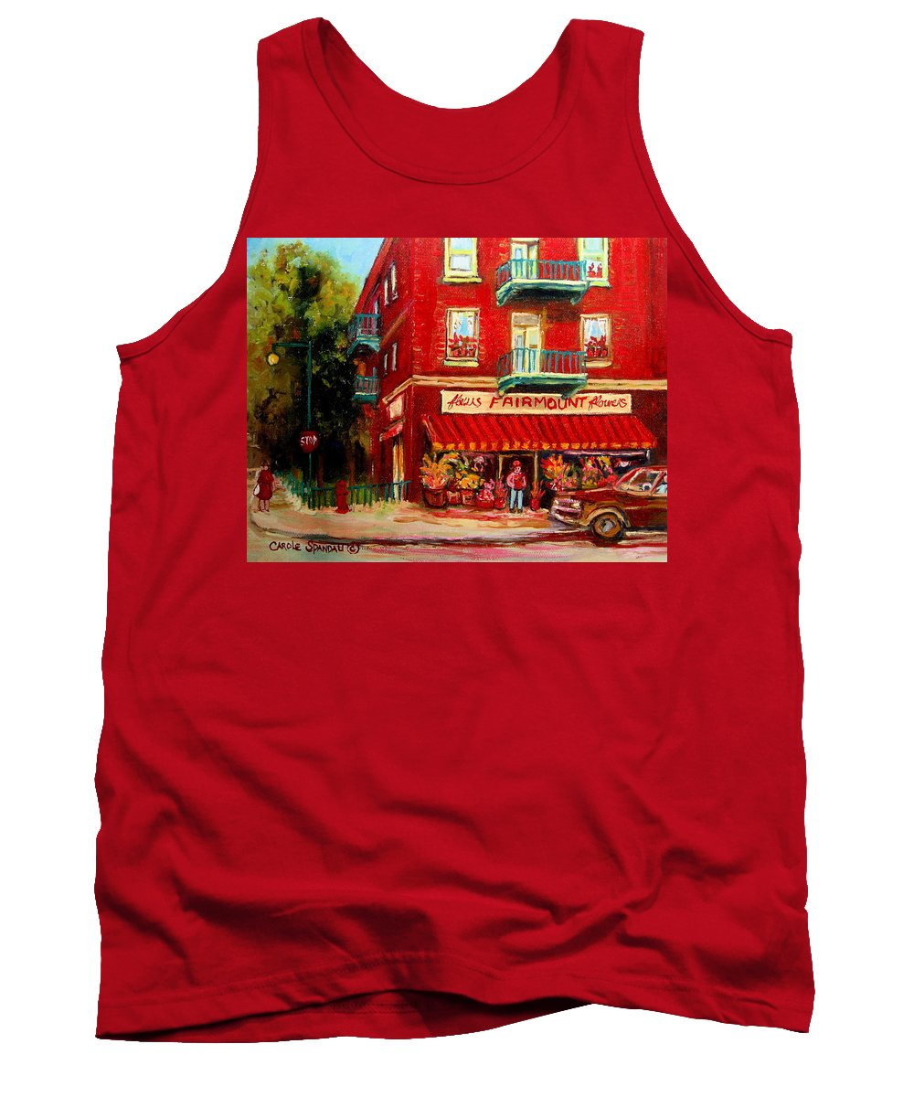 Fairmount Street Tank Top featuring the painting Flower Shop On The Corner by Carole Spandau