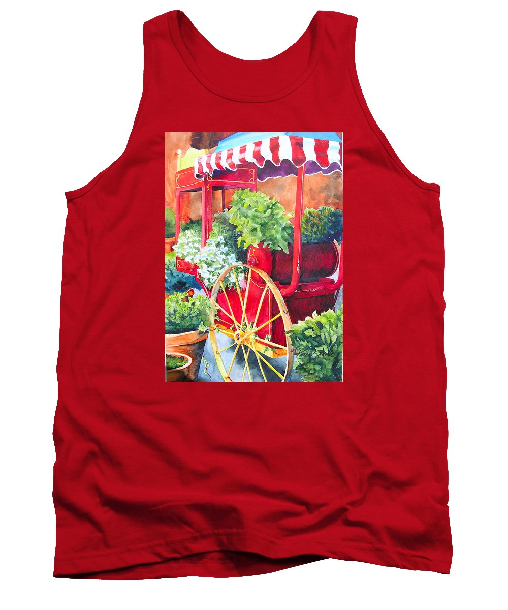 Floral Tank Top featuring the painting Flower Wagon by Karen Stark