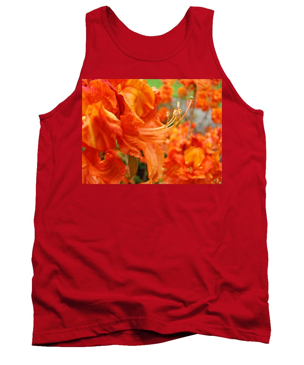 �azaleas Artwork� Tank Top featuring the photograph Flowers Azalea Garden Orange Azalea Flowers 1 Giclee Prints Baslee Troutman by Baslee Troutman