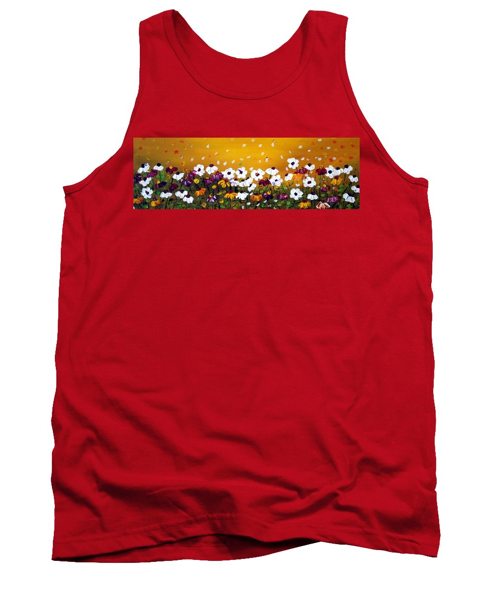 Flowers Tank Top featuring the painting Flowers In The Sunset by Luiza Vizoli