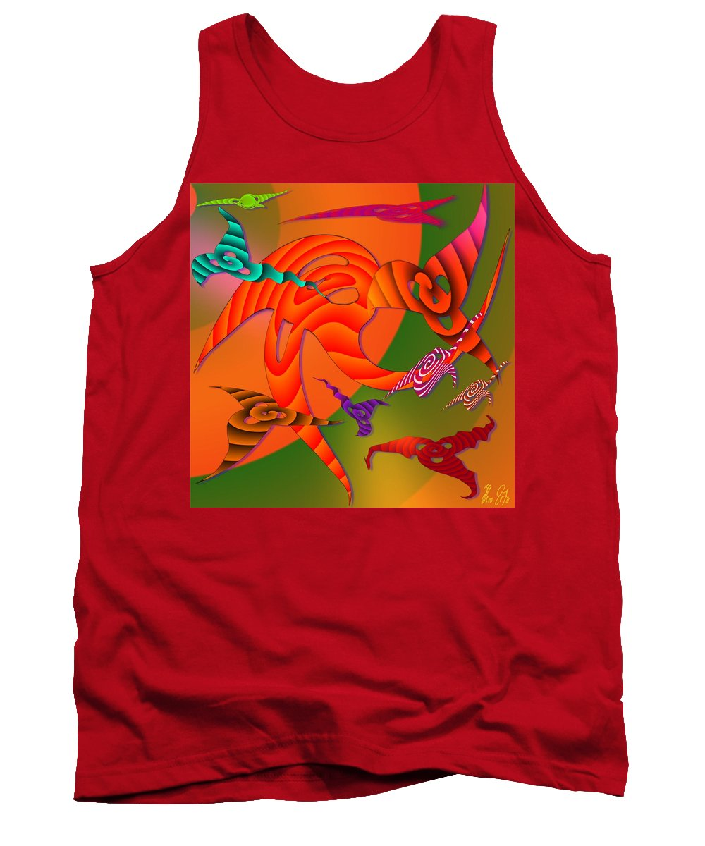 Triangles Tank Top featuring the digital art Flying Triangles by Helmut Rottler