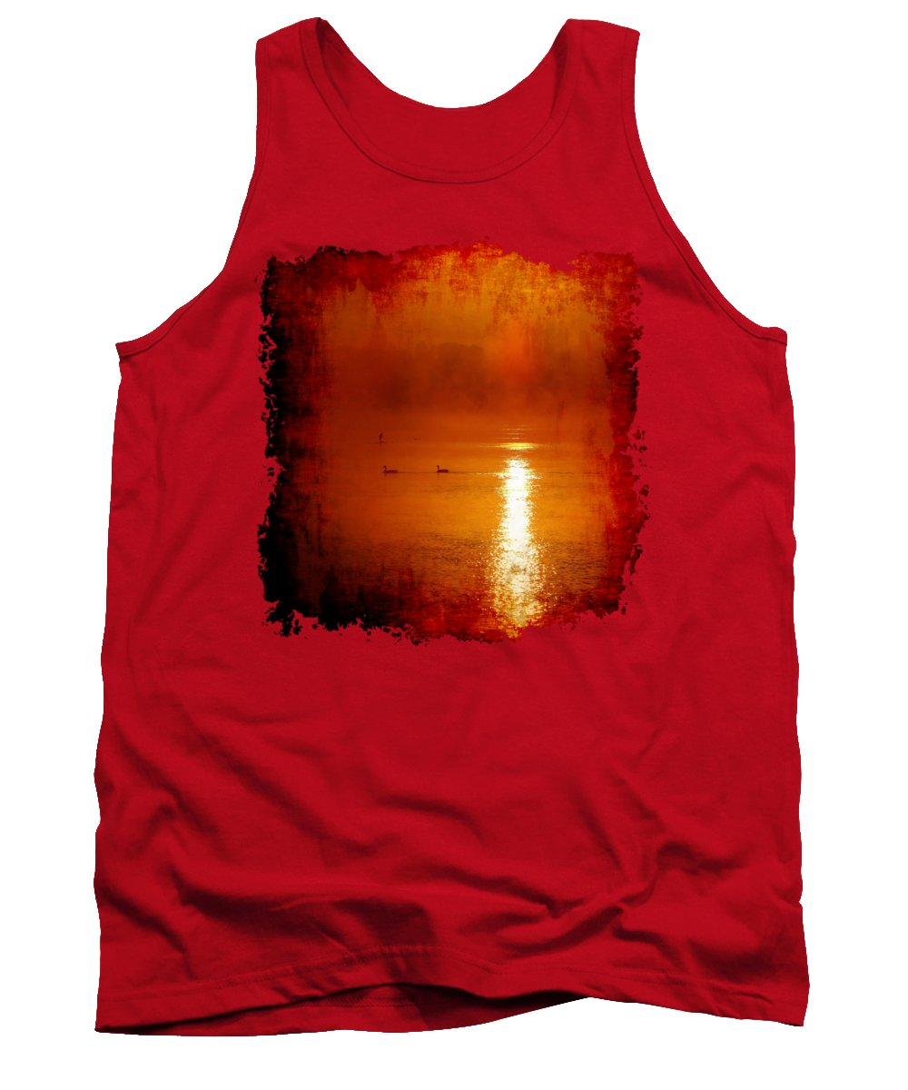 Sunrise Tank Top featuring the photograph Foggy Morning On The River by Nick Kloepping