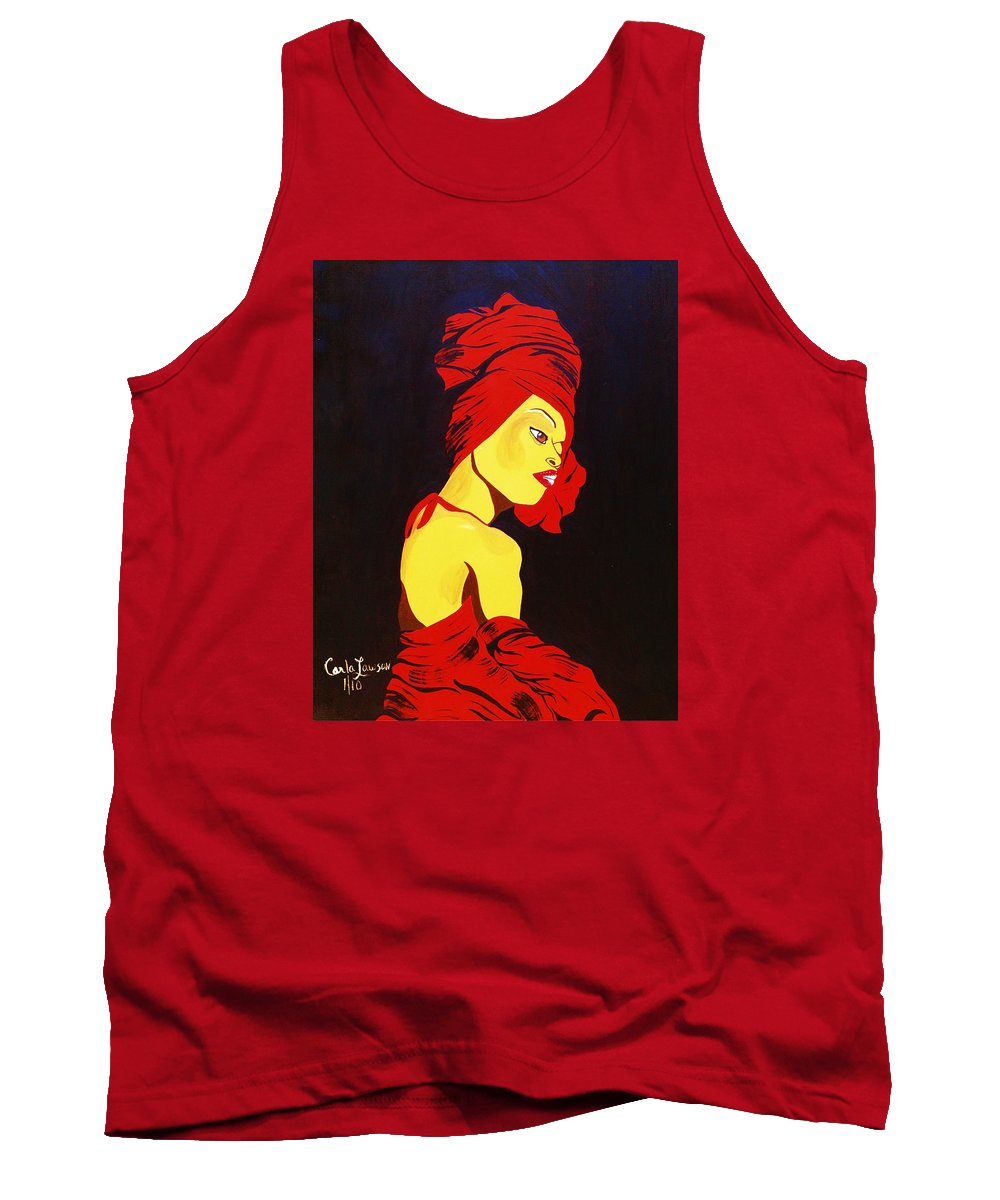 Erykah Badu Tank Top featuring the painting For Badu by Carla J Lawson