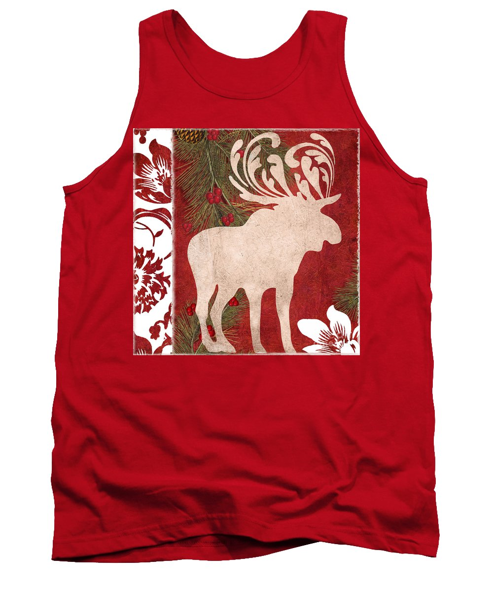 Christmas Tank Top featuring the painting Forest Holiday Christmas Moose by Mindy Sommers
