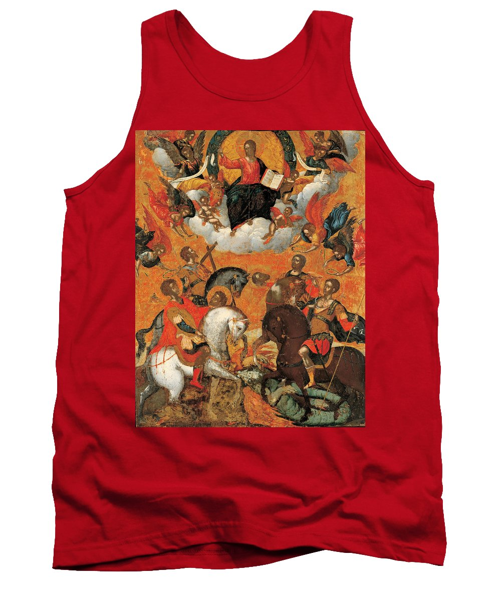 Michail Damaskinos Tank Top featuring the painting Four Military Saints by Michail Damaskinos