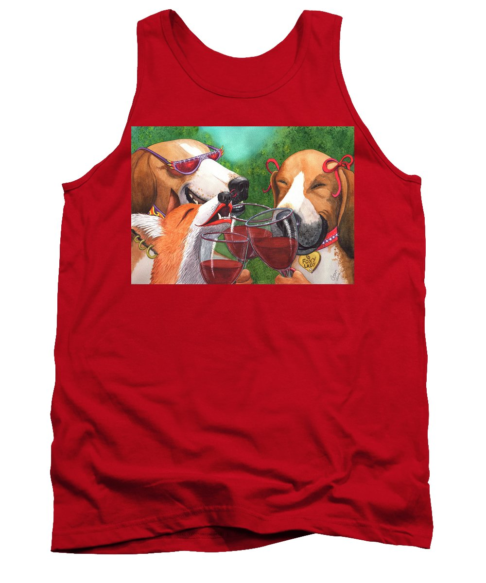 Fox Tank Top featuring the painting Foxy Winers by Catherine G McElroy