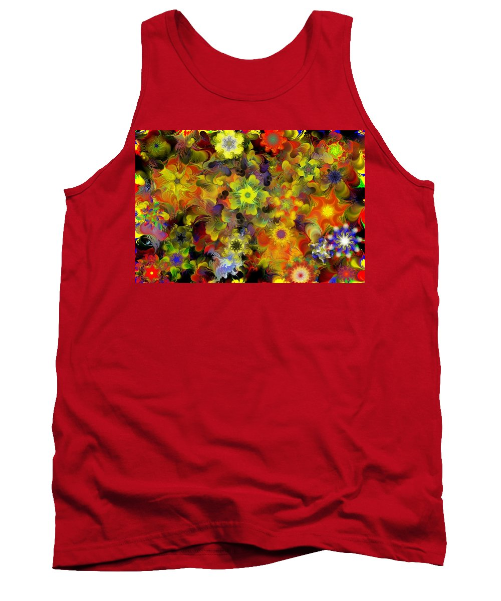 Digital Painting Tank Top featuring the digital art Fractal Floral Study 10-27-09 by David Lane