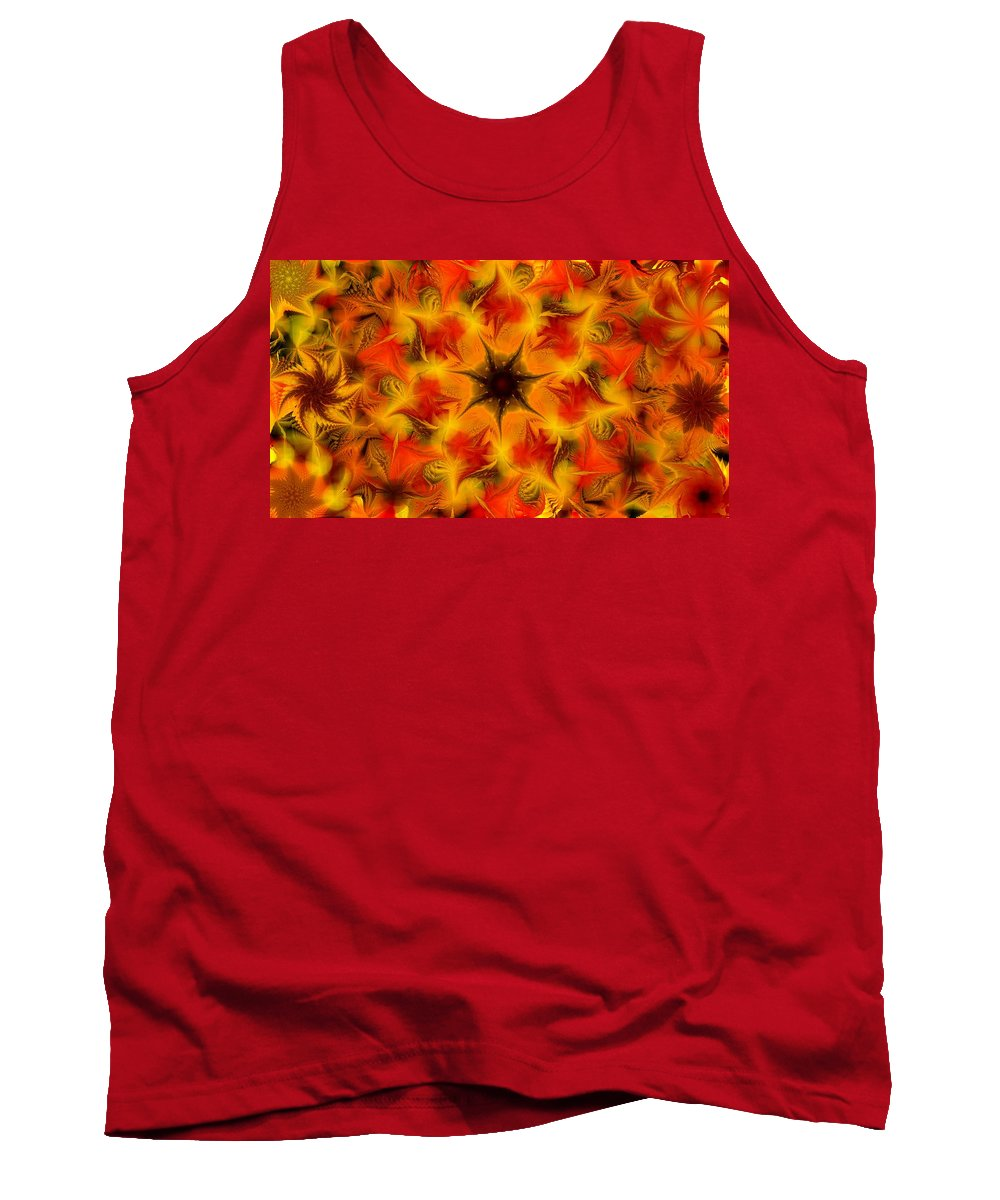 Abstract Digital Painting Tank Top featuring the digital art Fractal Garden 6 by David Lane