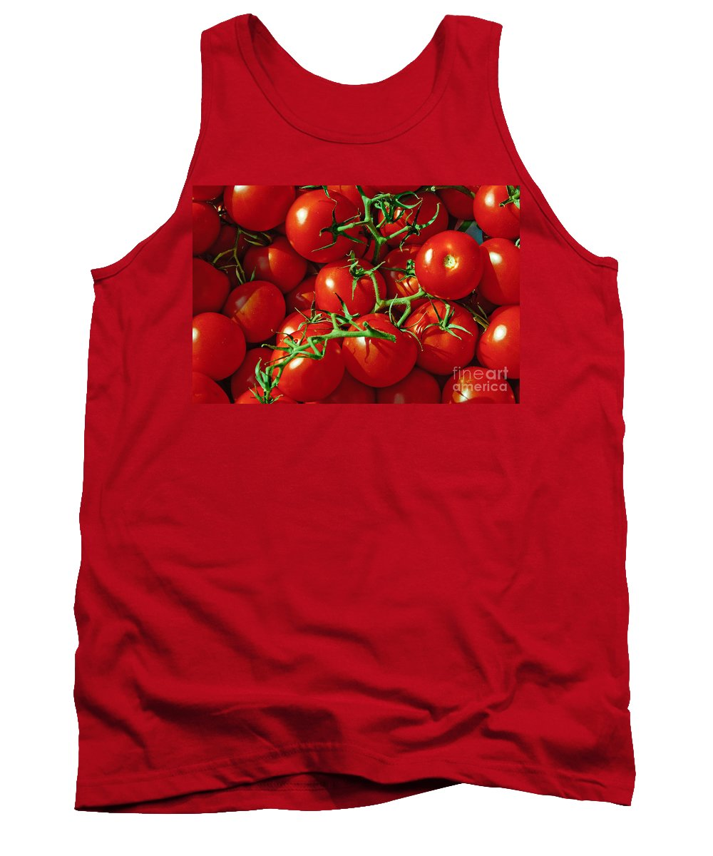 Tomato Tank Top featuring the photograph Fresh Tomotos On The Vine by Thomas Marchessault