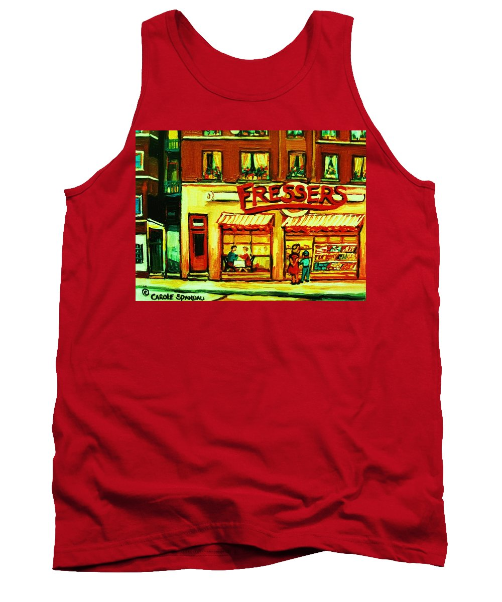 Fressers Tank Top featuring the painting Fressers Takeout Deli by Carole Spandau