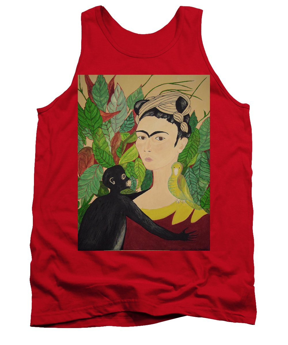 Frida Kahlo Tank Top featuring the painting Frida With Monkey And Bird by Stephanie Moore