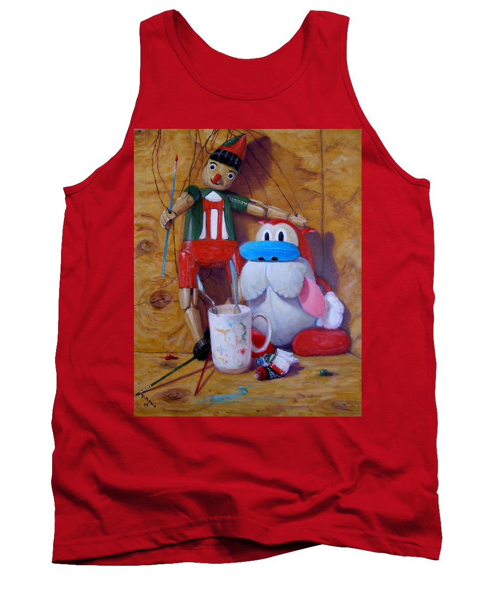 Realism Tank Top featuring the painting Friends 2 - Pinocchio And Stimpy  by Donelli DiMaria