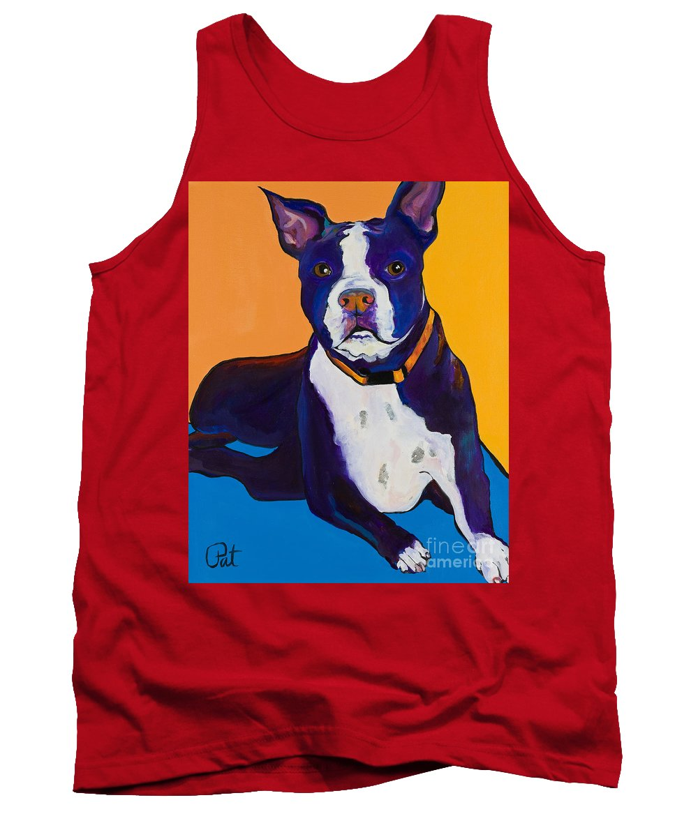 Boston Terrier Tank Top featuring the painting Georgie by Pat Saunders-White