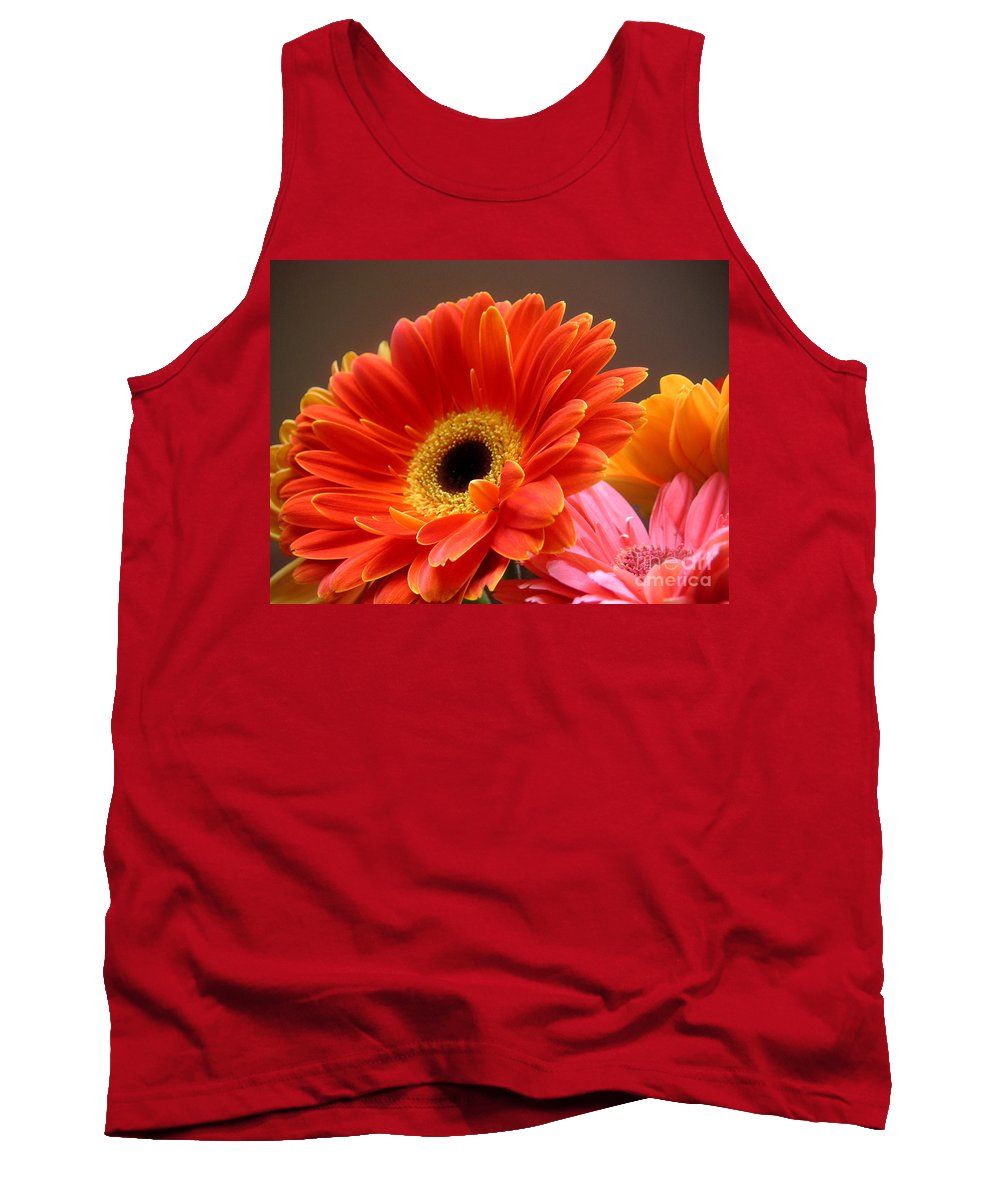 Nature Tank Top featuring the photograph Gerbera Daisies - Luminous by Lucyna A M Green