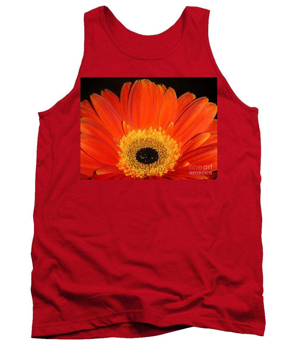 Nature Tank Top featuring the photograph Gerbera Daisy - Glowing In The Dark by Lucyna A M Green